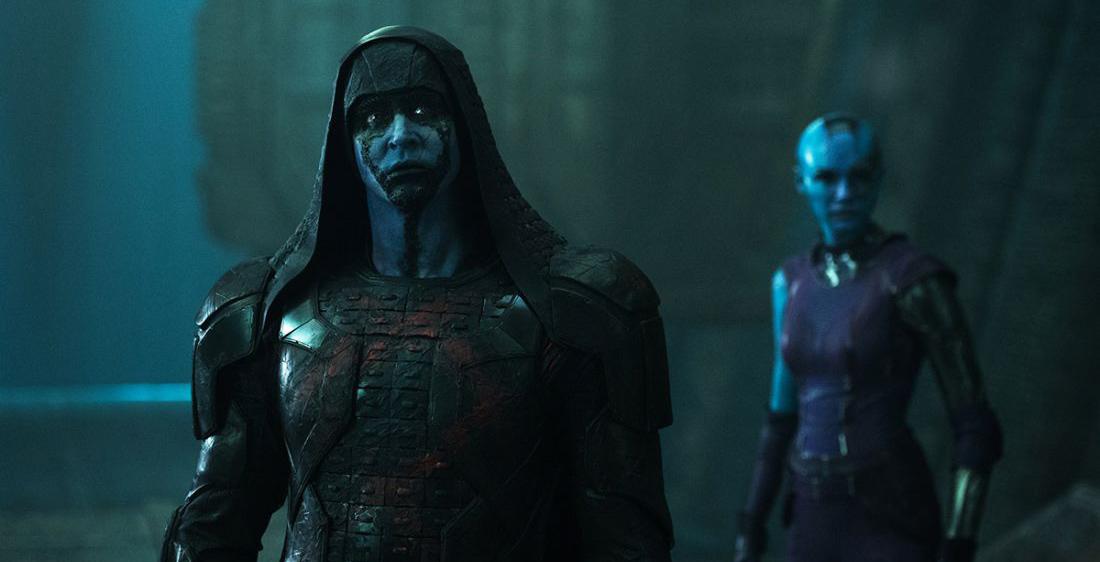 Lee Pace as the genocidal Ronan the Accuser, with Karen Gillan as Nebula