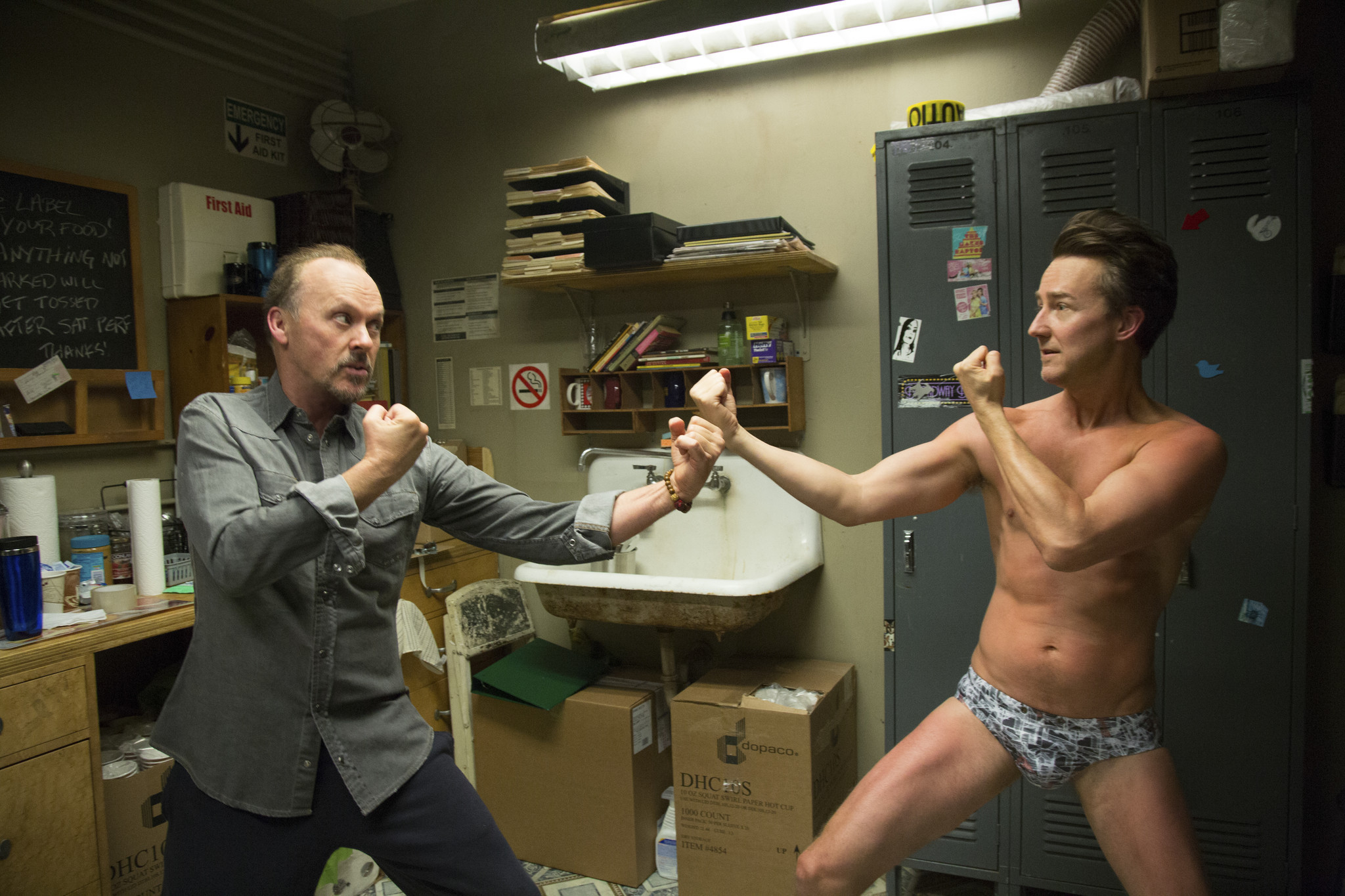 Michael Keaton as Riggan and Edward Norton as Mike in 'Birdman'