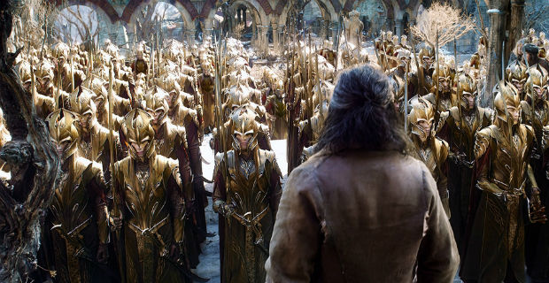 An army of Elves assembles before Bard (Luke Evans) before the battle.