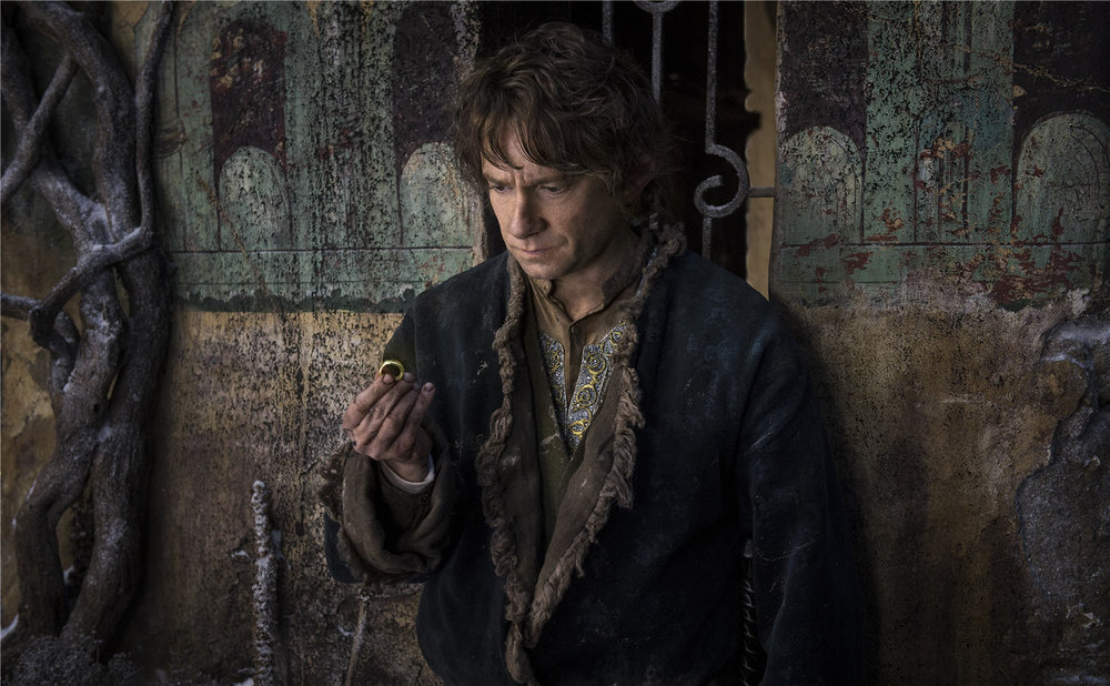 Bilbo (Martin Freeman) glances at the Ring before heading on a mission
