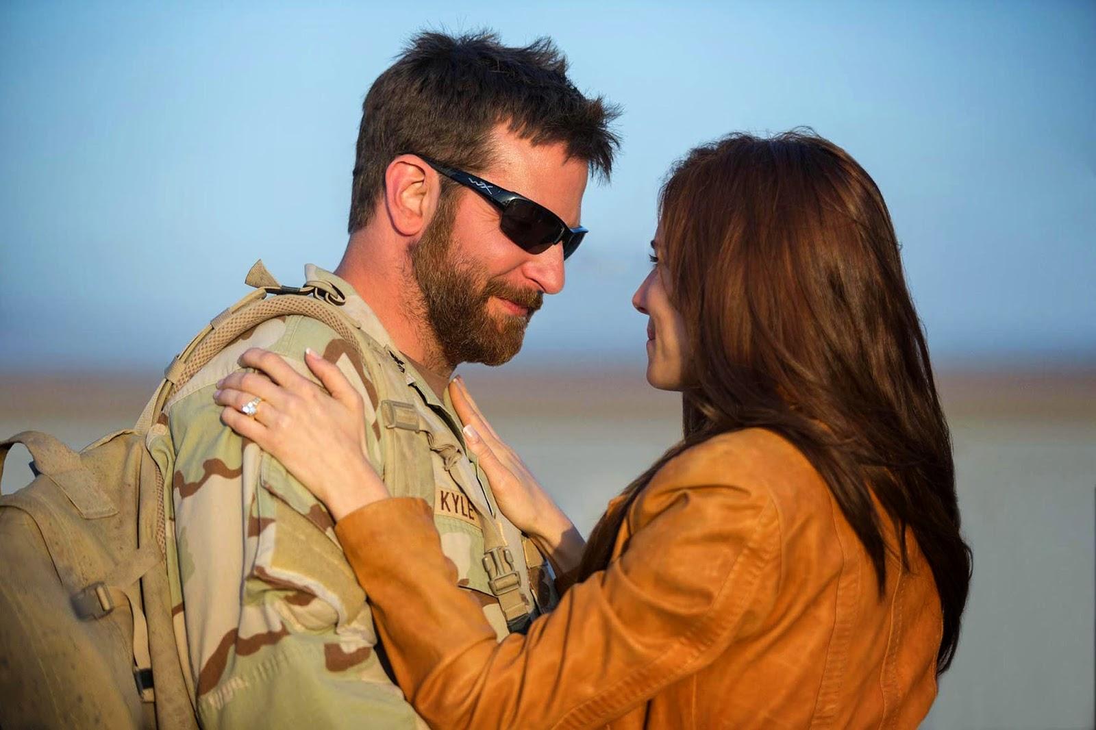Bradley Cooper as Navy SEAL sniper Chris Kyle and Sienna Miller as his wife Taya Kyle.