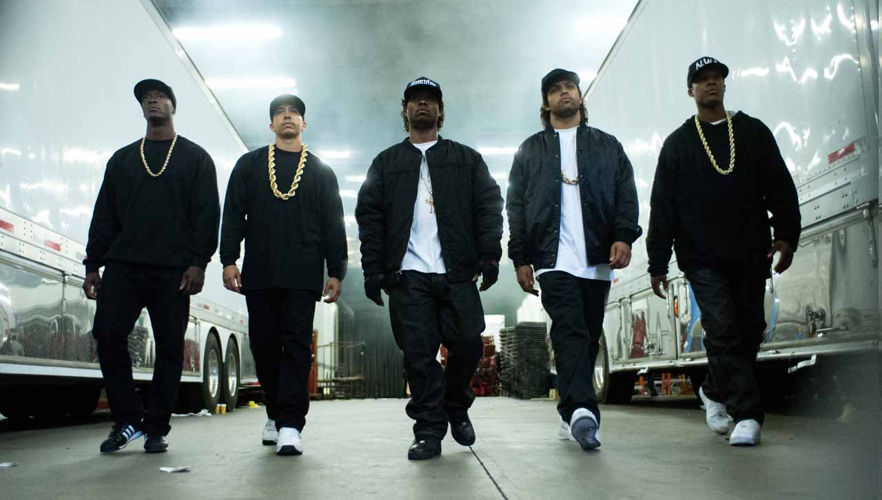 OShea Jackson, Jr., Corey Hawkins, Jason Mitchell, Neil Brown Jr., and Aldis Hodge in Straight Outta Compton