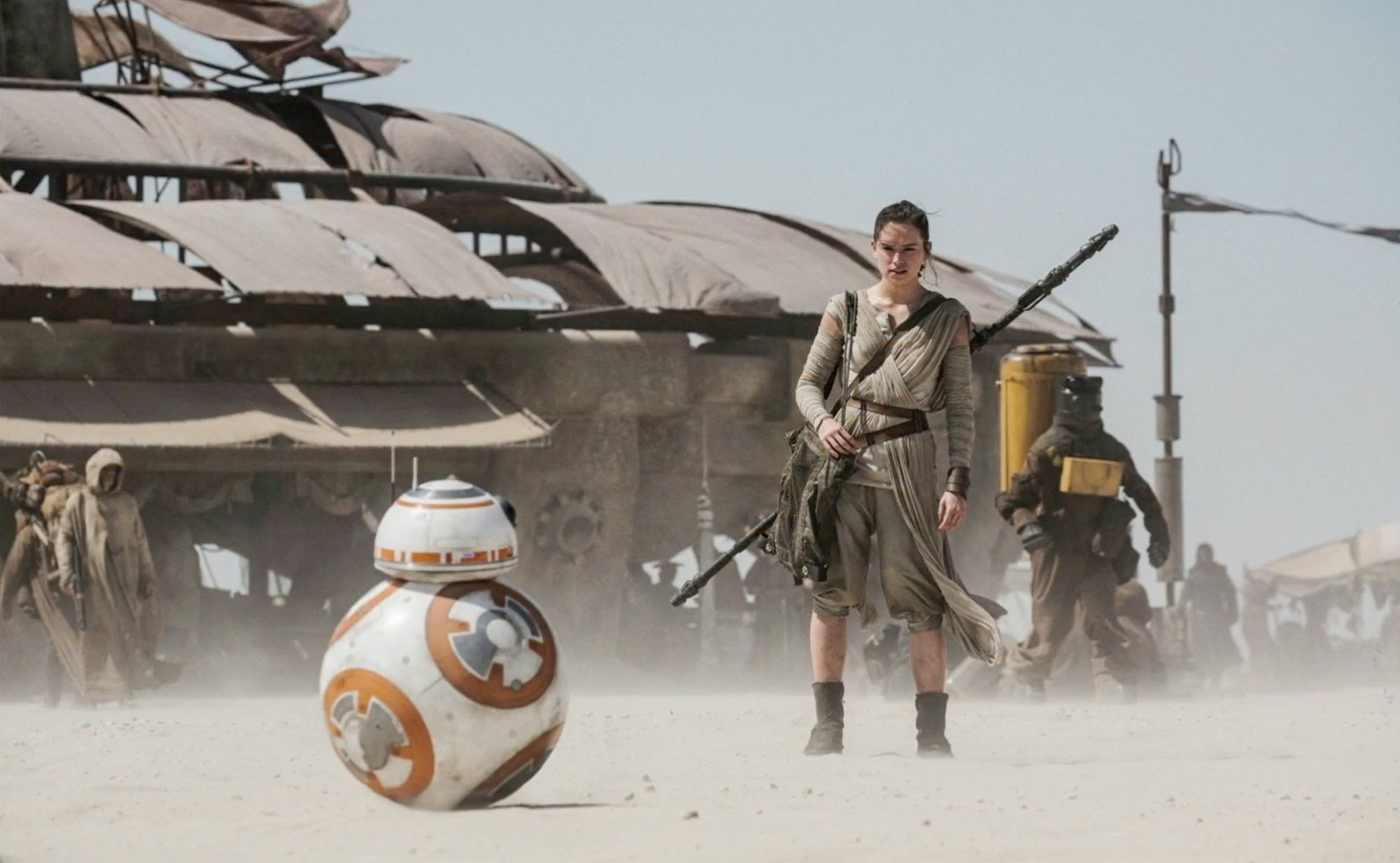 Newcomer actress Daisy Ridley stars as Rey in 'Star Wars: The Force Awakens'
