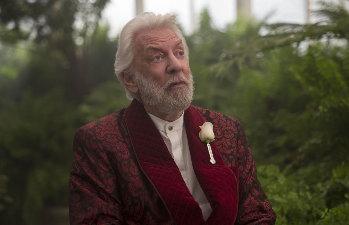 Donald Sutherland appears as vicious dictator President Snow.