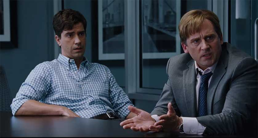 Hamish Linklater and Steve Carell in 'The Big Short', directed by Adam McKay.