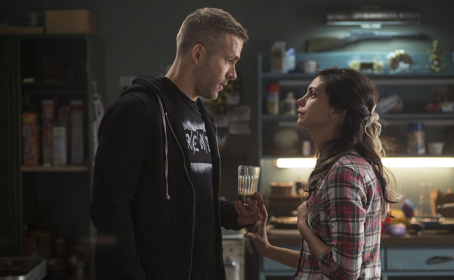 Wade Wilson (Ryan Reyonlds) and Vanessa (Morena Baccarin) disagree over how to handle his cancer diagnosis.