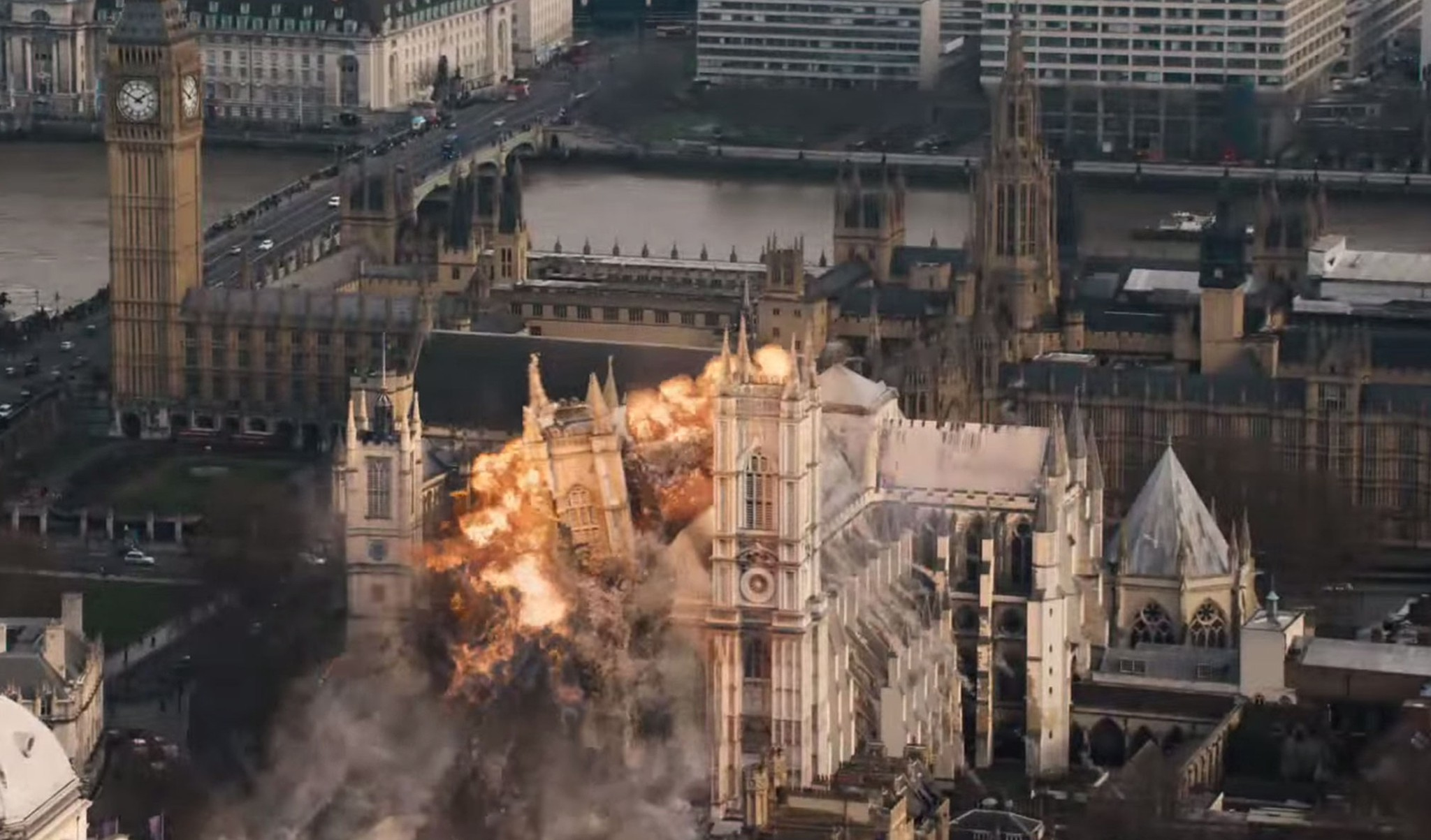 Cool, blow up some landmarks like Westminster Abbey. Shocking!