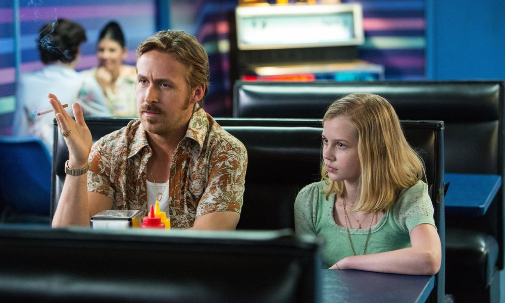 Ryan Gosling as private eye Holland March and Angourie Rice as March's daughter Holly.