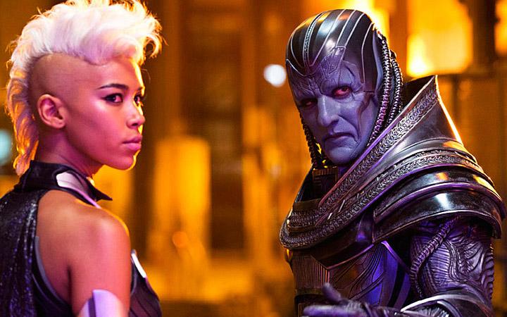 Oscar Isaac (buried under makeup) as Apocalypse, and Alexandra Shipp as Storm.