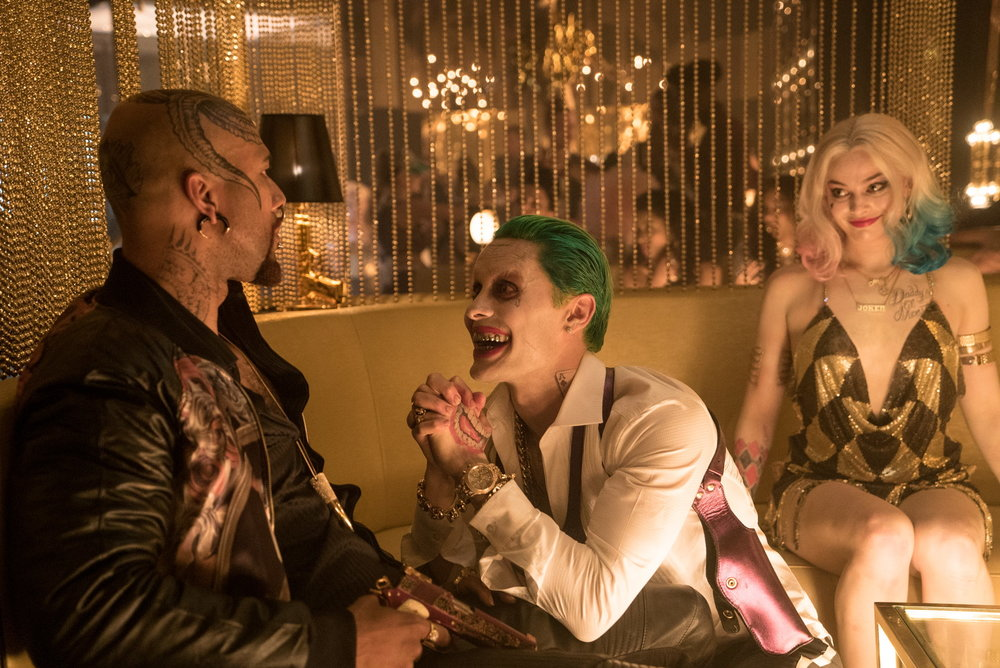 Jared Leto as the Joker, Robbie as Harley Quinn and Common as Monster T.