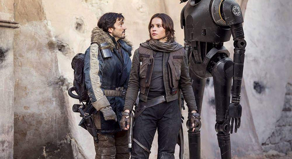 Diego Luna and Felicity Jones in 'Rogue One: A Star Wars Story', directed by Gareth Edwards.