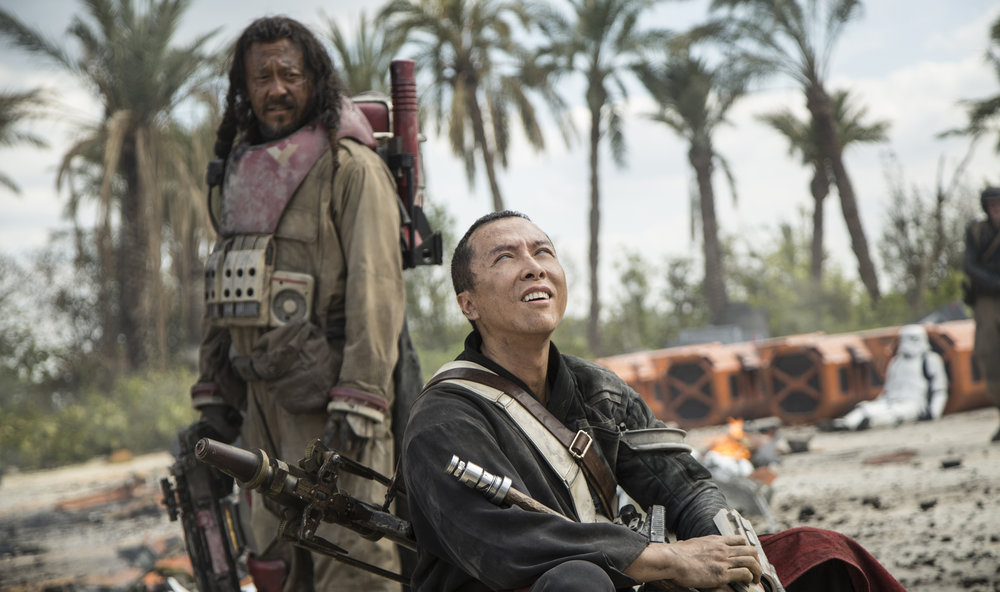Baze Malbus (Jiang Wen) and Chirrut Imwe (Donnie Yen) are two outcasts looking for a way to oppose the Empire.