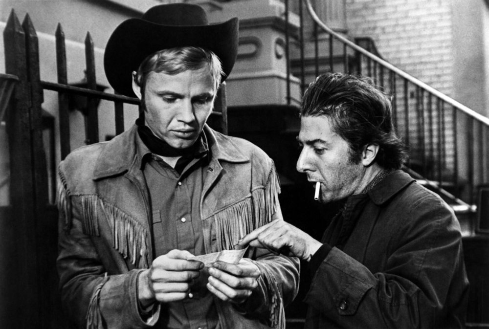 Jon Voight and Dustin Hoffman star in 'Midnight Cowboy', directed by John Schlesinger