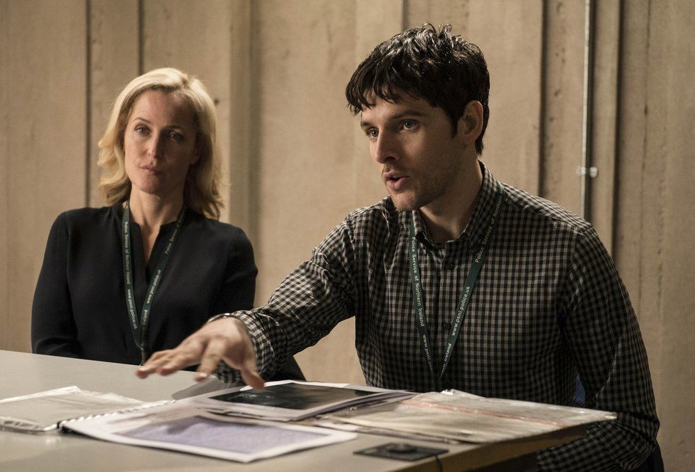 Gillian Anderson and Colin Morgan on 'The Fall'.
