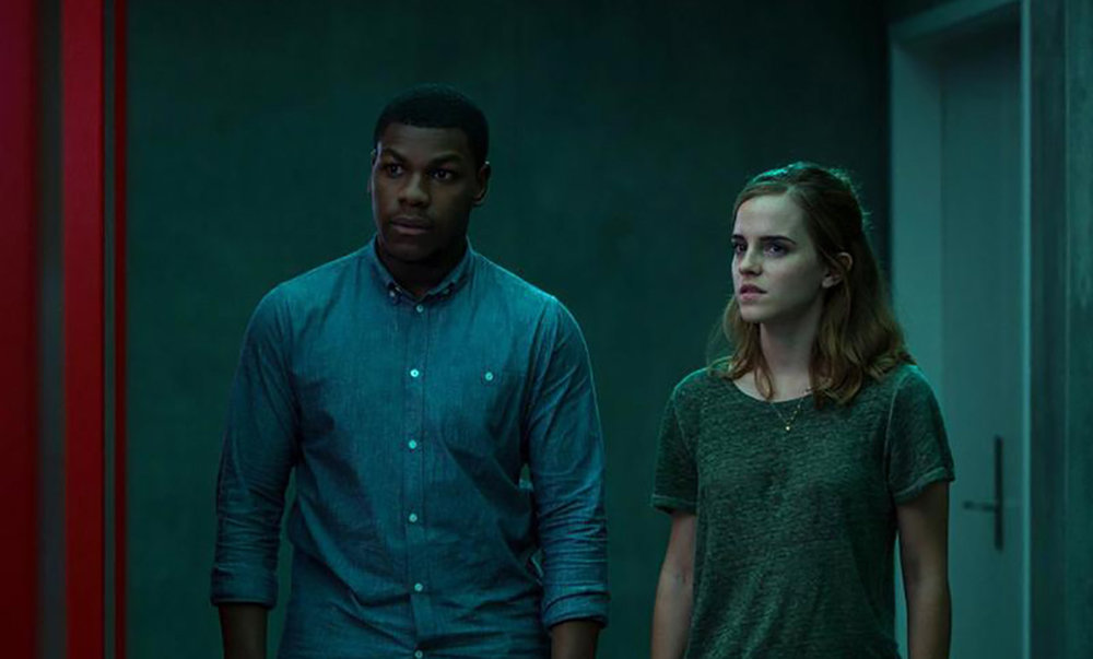 John Boyega and Emma Watson in  The Circle , directed by James Ponsoldt.