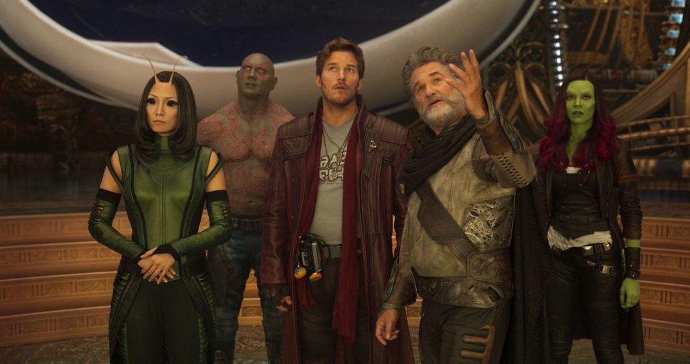 Pom Klementieff, Dave Bautista, Chris Pratt, Kurt Russell and Zoe Saldana in  Guardians of the Galaxy Vol. 2 , directed by James Gunn.