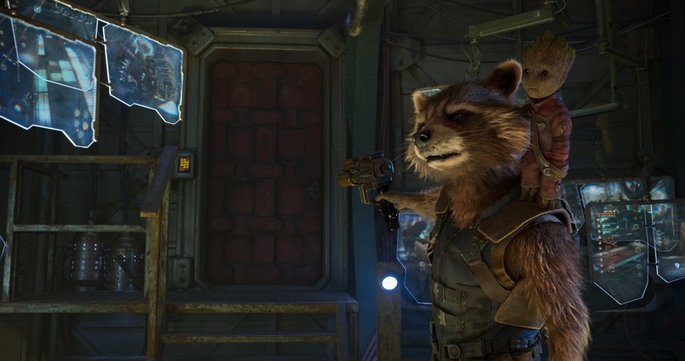 Rocket and Groot (voiced by Bradley Cooper and Vin Diesel).