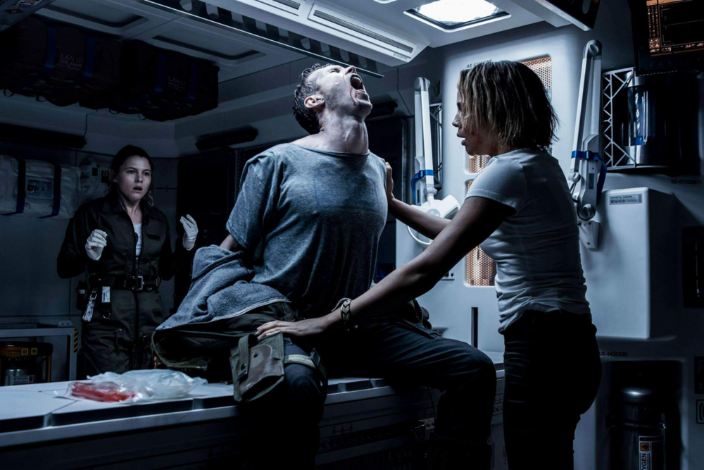 Amy Seimetz, Nathaniel Dean and Carmen Ejogo play crewmembers of the Covenant mission.