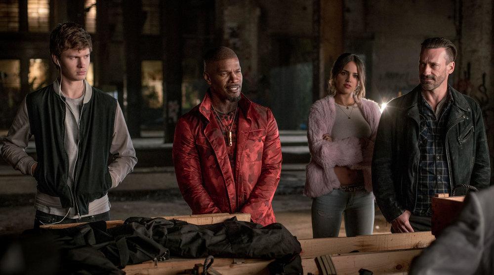 The crew for the final job: Baby (Elgort), Bats (Jamie Foxx), Darling (Eiza González) and Buddy (Jon Hamm).