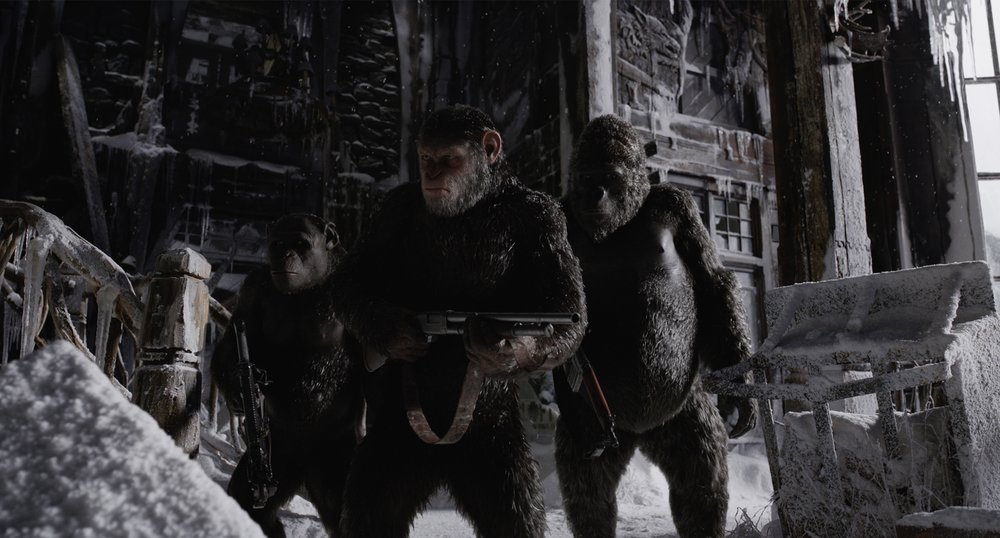 Rocket (Terry Notary), Caesar (Andy Serkis) and Luca (Michael Adamthwaite) in  War for the Planet of the Apes , directed by Matt Reeves.