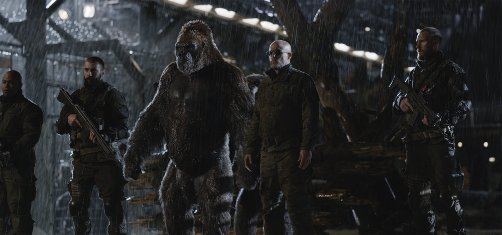 The apes are menaced by the Colonel (Woody Harrelson) who's recruited some disaffected apes to his cause.