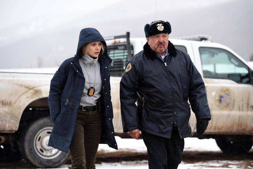 Elizabeth Olsen as Jane Banner and Grahame Greene as Ben in  Wind River , directed by Taylor Sheridan.