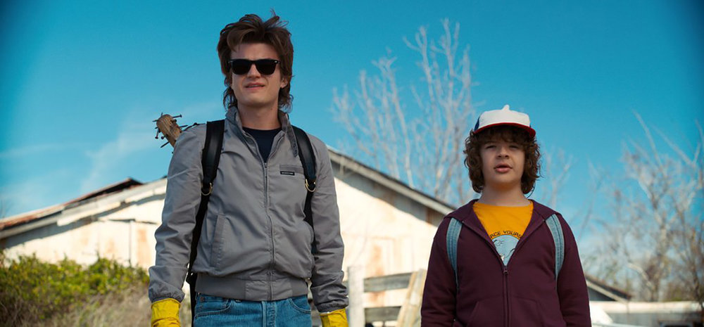 Joe Keery and Gaten Matarazzo as Steve and Dustin in  Stranger Things .