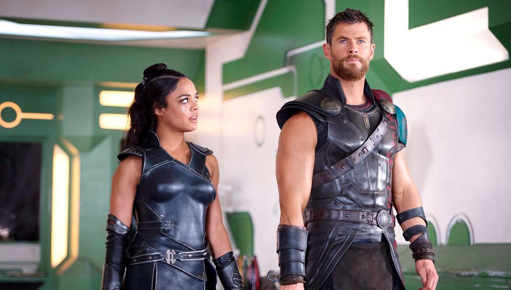Tessa Thompson and Chris Hemsworth in Thor: Ragnarok, directed by Taika Waititi.