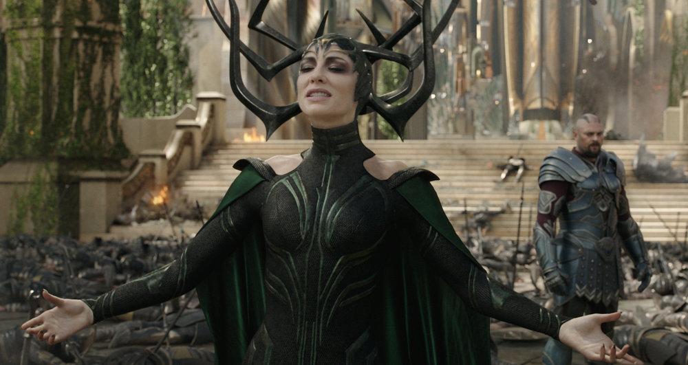Cate Blanchett as Hela and Karl Urban as Skurge.