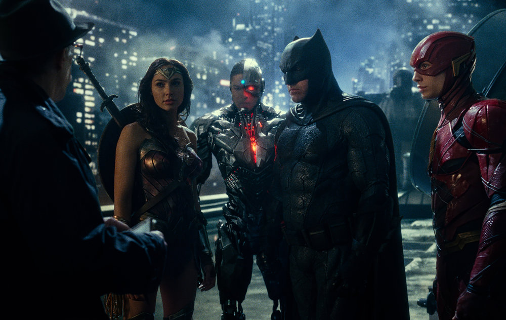 J.K. Simmons, Gal Gadot, Ray Fisher, Ben Affleck and Ezra Miller in  Justice League , directed by Zack Snyder.