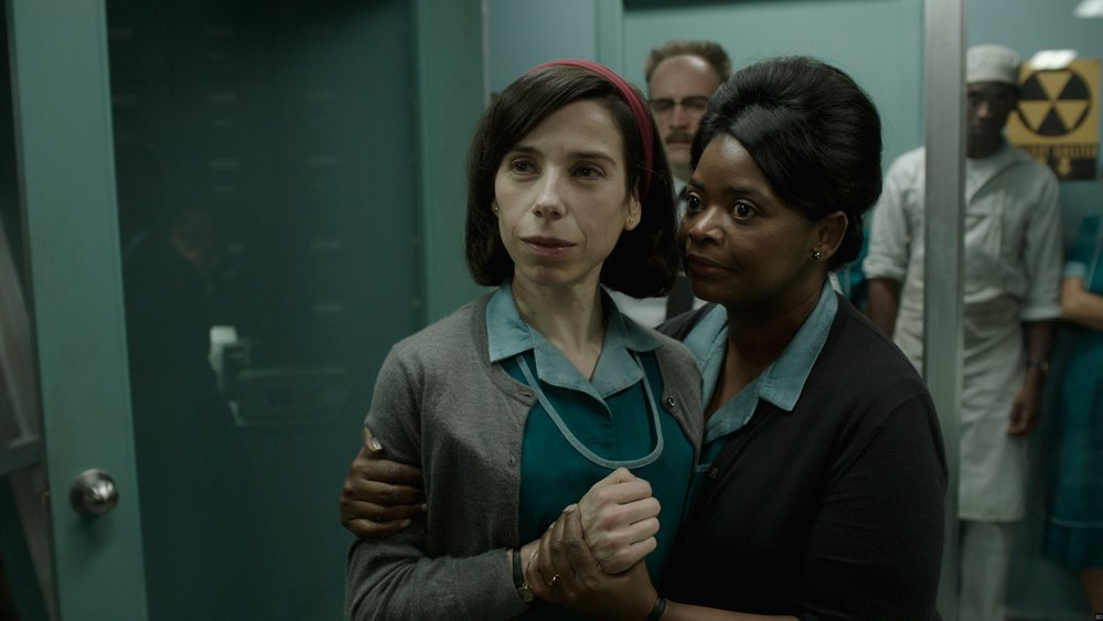 Sally Hawkins as Elisa and Octavia Spencer as Zelda in  The Shape of Water , directed by Guillermo del Toro.