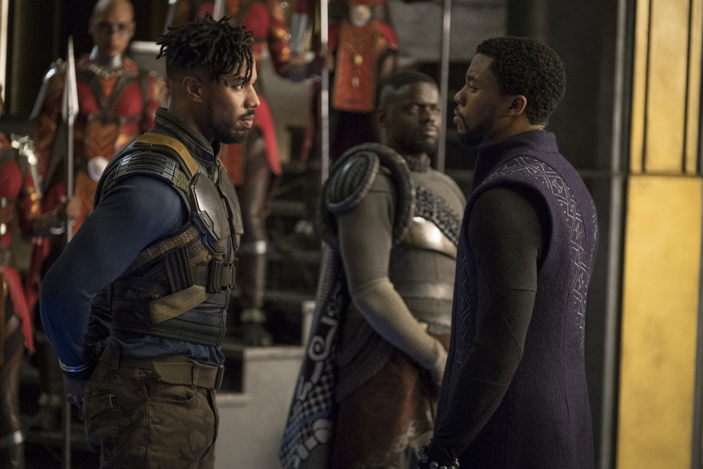 Michael B. Jordan as Erik Killmonger and Chadwick Boseman as T'Challa in  Black Panther , directed by Ryan Coogler.