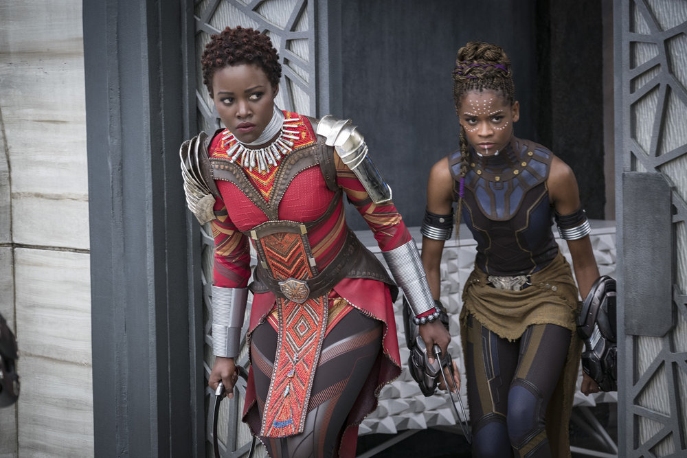 Lupita Nyong'o as Nakia and Letitia Wright as Shuri.
