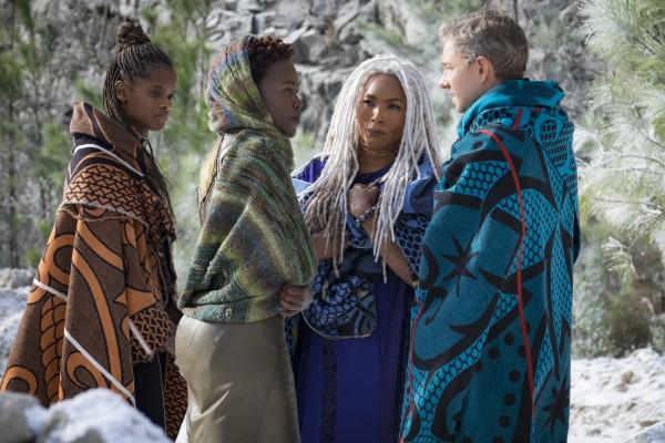 Shuri and Nakia team up with Ramana (Angela Bassett) and Everett Ross (Martin Freeman).
