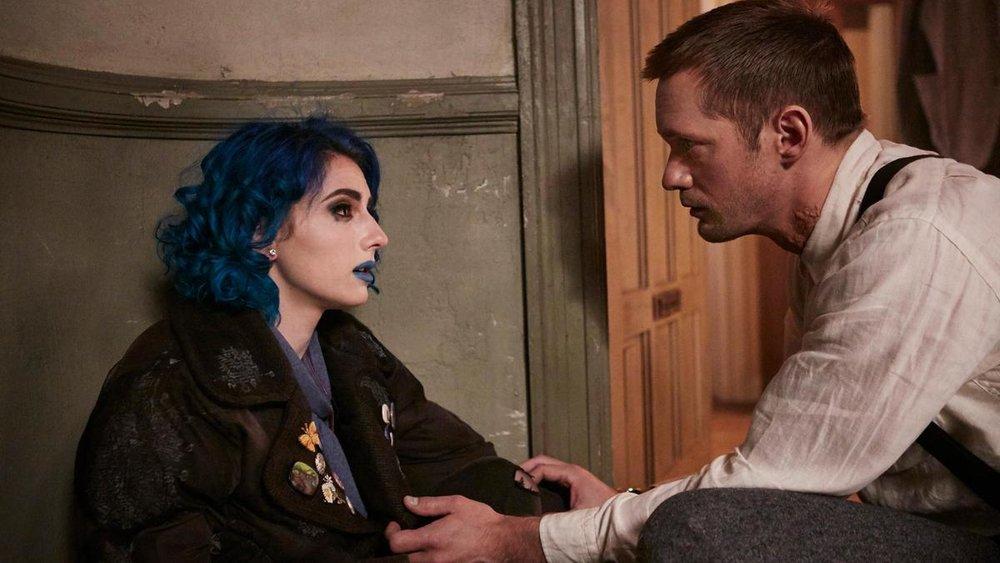 Seyneb Saleh as Naadirah and Alexander Skarsgård as Leo in  Mute , directed by Duncan Jones.