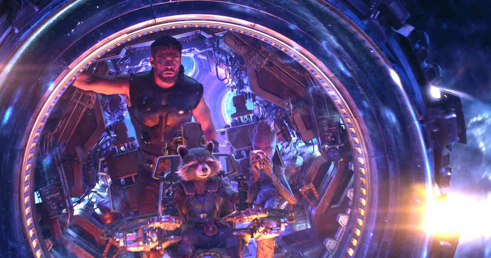 Thor (Chris Hemsworth) teams up with Rocket (Bradley Cooper) and Groot (Vin Diesel).