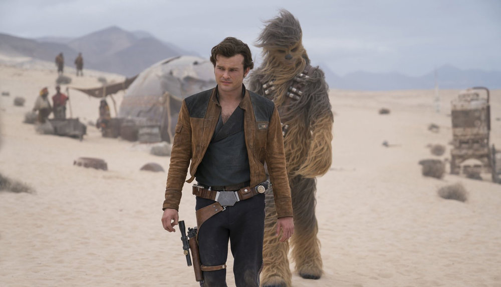 Alden Ehrenreich as Han Solo and Joonas Suotomo as Chewbacca in  Solo: A Star Wars Story , directed by Ron Howard.