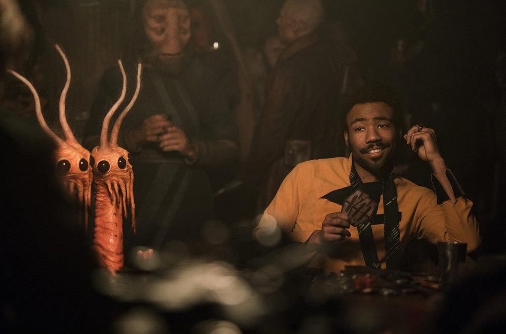 Donald Glover as famous gambler and starship pilot Lando Calrissian.