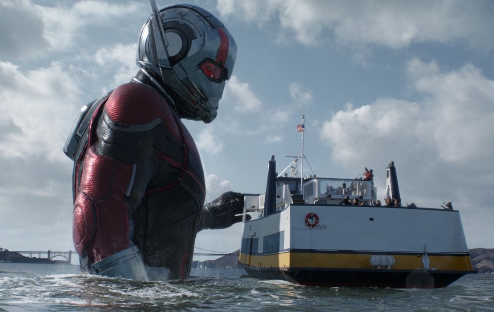 Sight gags with Scott's suit make up many of Ant-Man's appearances.