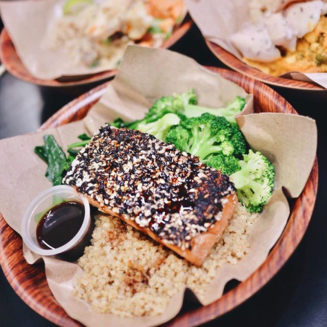 Salmon, Rice and Greens Bowl at YOLO PC: @mareenah