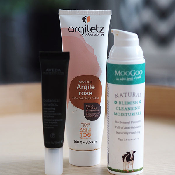 Aveda, Argiletz and MooGoo all-natural skincare products.
