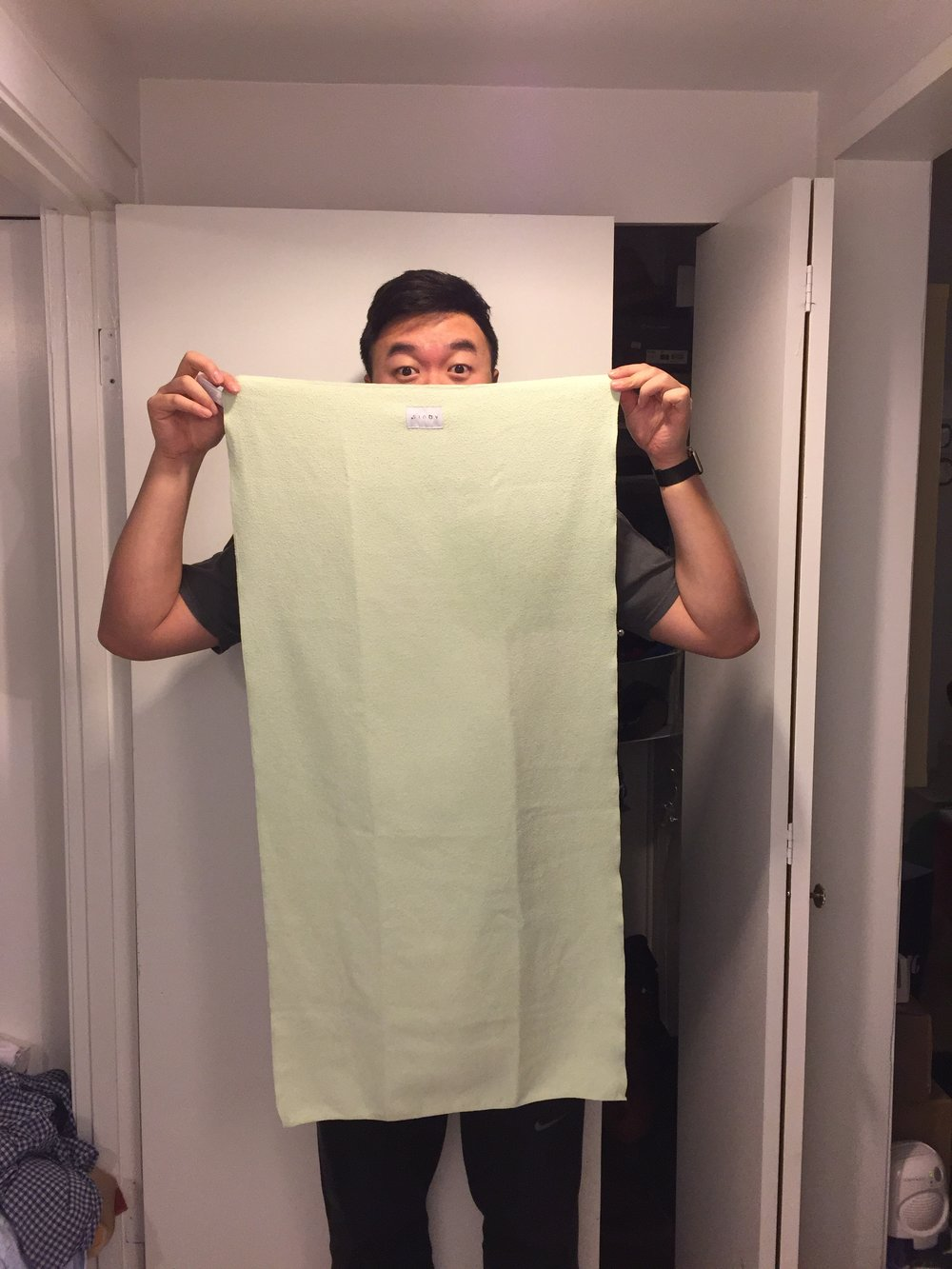 Size of the towel in comparison to my height.