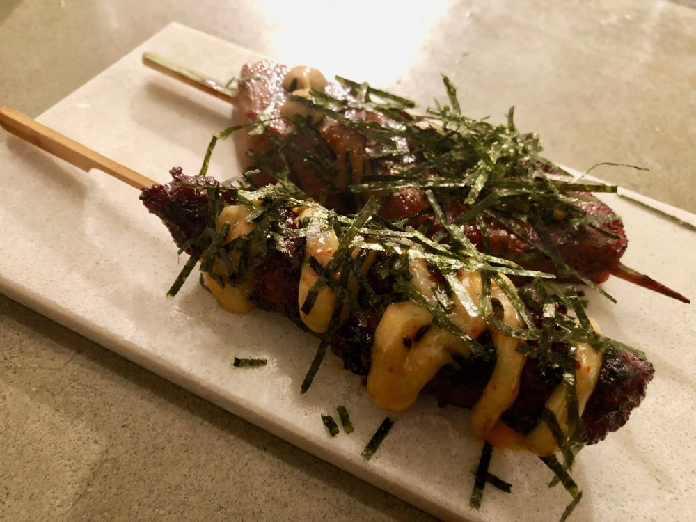 Beef tongue and the meatball skewer - texture is too weird for me for the tongue.
