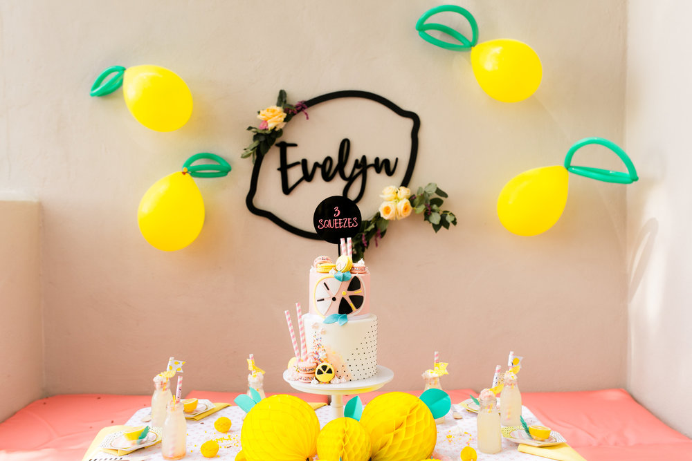 Lemonade Birthday Party - Tabletop Decor and Cake
