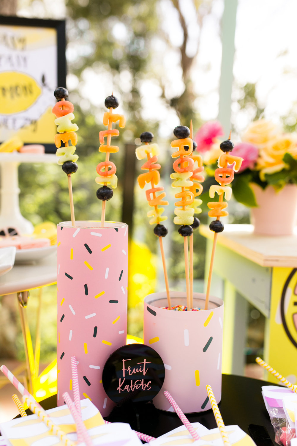 Lemonade Kids Birthday Party Food Inso - Fruit Name Skewers DIY