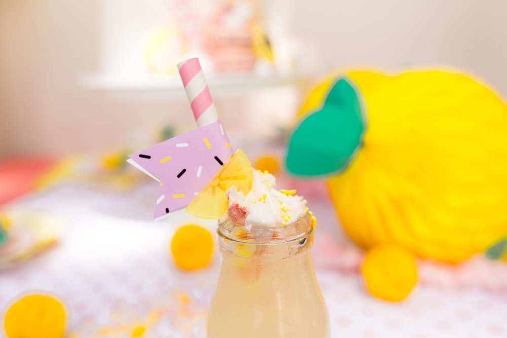 Lemonade Kids Birthday Party Table Decor - lemonade drinks