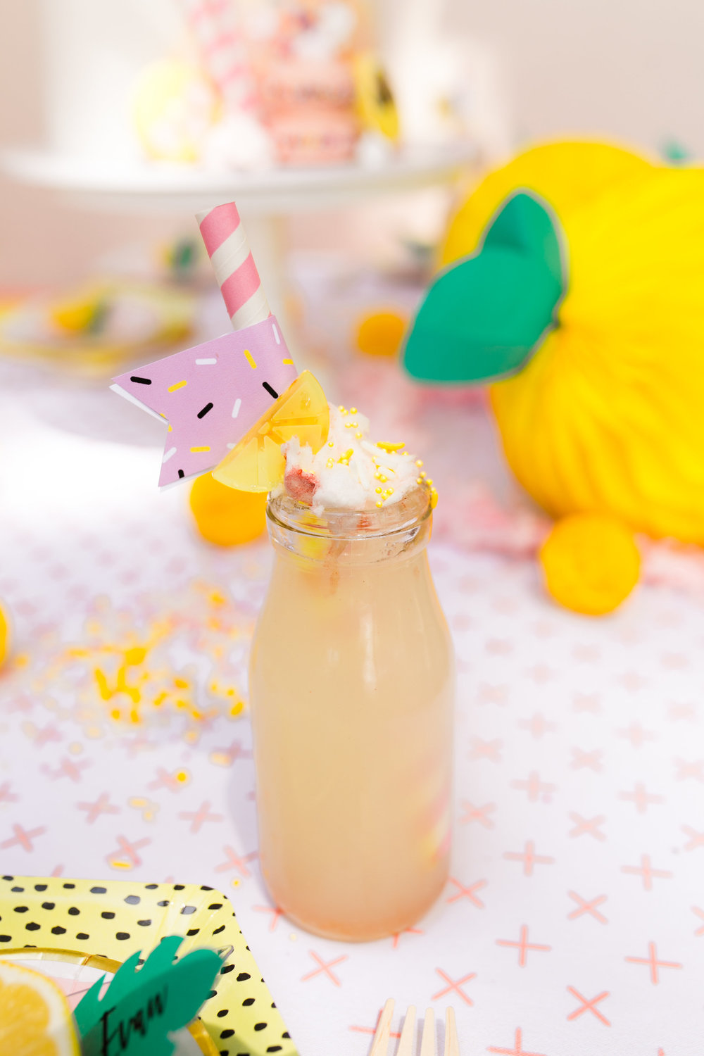 Lemonade Kids Birthday Party - Lemonade Party Drinks with Straws/Cotton Candy/and Sprinkles