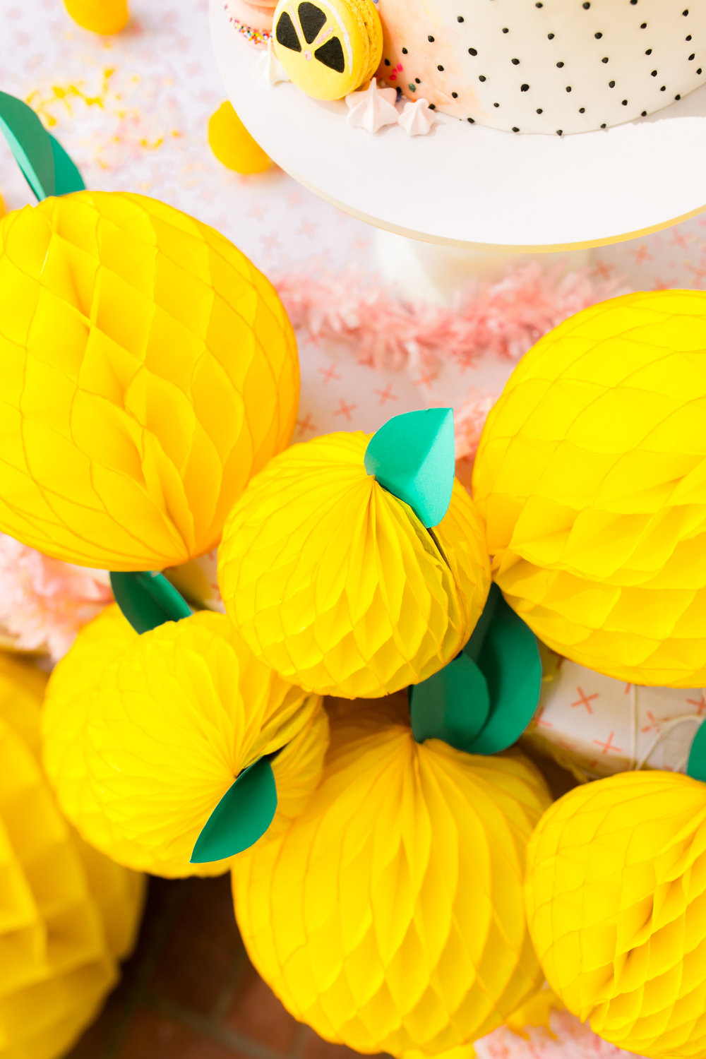 Lemonade Kids Birthday Party - Honeycomb DIY Lemons