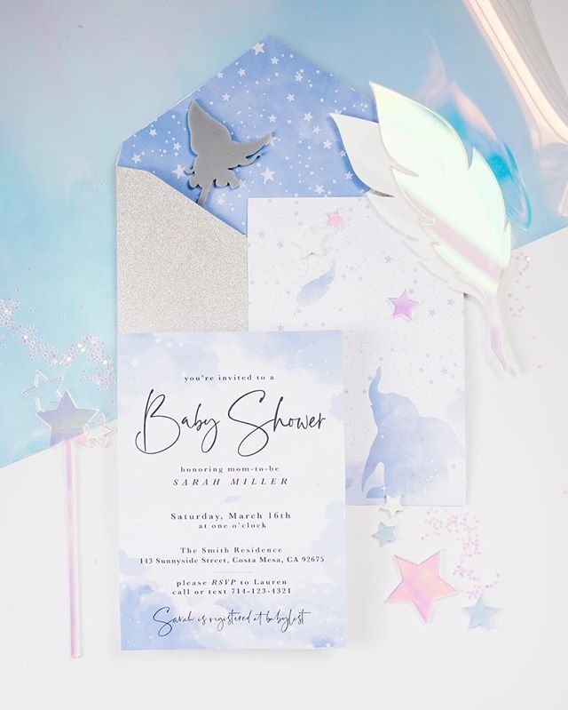 Baby of Mine! Our sweet Dumbo baby shower inspired upon the release of the new Live Action movie 🍿. So many incredible details and DIY tutorials were crafted for this one of a kind event. . @midnightconfetti designed this original #Dumbo invitation for a very lucky mama to be.  Doesn't iridescent make everything uber chic?! The team behind the Disney Magic Planning @partycrushevents | Design+Styling | @forrestandj | Photography @lovebucketphoto | Custom Stationery + Laser Cut | @midnightconfetti With @michellerogers_styling @sugarcrushsweets @earthbabyflowers