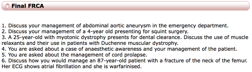 Examples of question from the AnaesthesiaUK newsletter